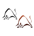Two silhouette wild bull vector image