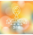 Spa wellness label on blurred background vector image