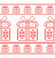 Knitted pattern with gift boxes vector image vector image