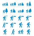 Set of hiking event icons vector image