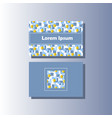 blue and grey business card hand-drawn pattern vector image