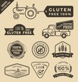 Set of gluten free food certified label logo vector image