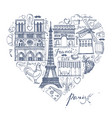 the sketches about france and paris in the shape vector image