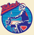 skull rider ride a motor cycle with circle backgro vector image