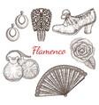 set of flamenco accessories vector image