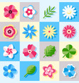 digital blue flowers set icons vector image