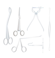 Set of Surgical Instruments on White Background vector image