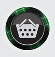 button with green black tartan - shopping basket vector image