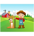 Cartoon little boy and dog in the farm vector image