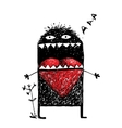 Character Monster in Love with Red Heart vector image