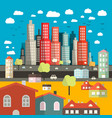 City - Town - Easy Flat Design with Houses vector image