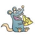 cute mouse found a piece of cheese and happy vector image