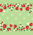 frame template with strawberries leafs and vector image