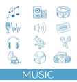 Hand drawn music icons set vector image