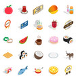 quality food icons set isometric style vector image