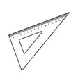 simple hand drawn plastic angle ruler office vector image