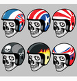 skull wearing various retro helmet vector image