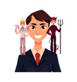 business man with angel and devils decision vector image