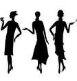 Silhouettes of beautiful girl 1920s style vector image