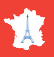 eiffel tower and map on red vector image