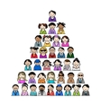 Pyramid of people icons for your design vector image