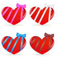 set of hearts with ribbons vector image