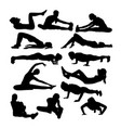 silhouettes of girl stretching and exercise vector image