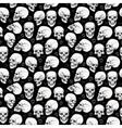 Skull Halloween seamless monochrome pattern vector image