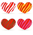 set of striped hearts vector image vector image