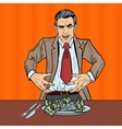 Pop Art Rich Greedy Businessman Eating Money vector image