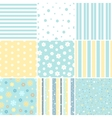 Set of Seamless patterns with Flower star polka vector image