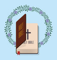 holy bible wedding flower decoration vector image