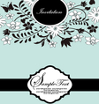 blue floral card with place for text vector image