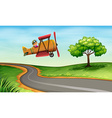 A plane above the winding road vector image