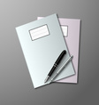 Notebooks with pen and pencil background vector image vector image