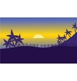 sea at sunset of silhouette vector image