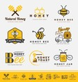 Set of honey bee logo and labels for honey product vector image