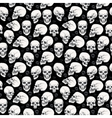Skull Halloween seamless monochrome pattern vector image