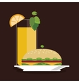 sandwich bread lunch snack icon vector image