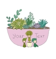 Beautiful succulents in pot Little fairy vector image