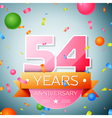 Fifty four years anniversary celebration vector image