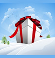 huge christmas present in snow vector image