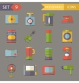 Retro Flat Household Icons and Symbols Set vector image vector image