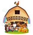 A farm with farm animals vector image vector image