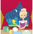 housewife washing the dishes at night vector image