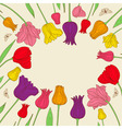 floral banner with colorful tulips vector image vector image