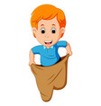 boy playing jumping sack race vector image