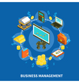 Business Management Isometric Round Composition vector image