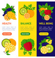 cartoon food with vitamin c banner vecrtical set vector image