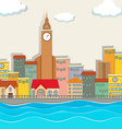City view with clock tower and buildings vector image